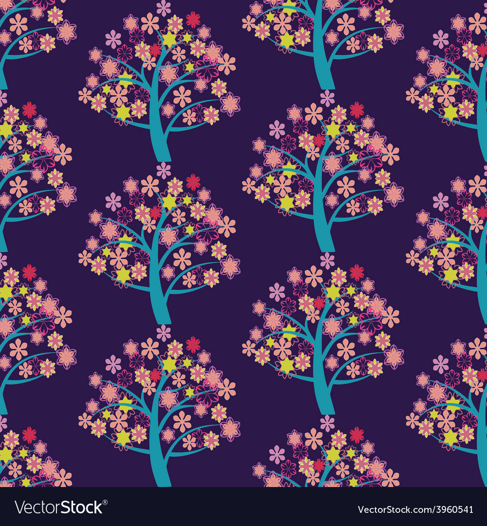 With blossoming trees abstract background vector