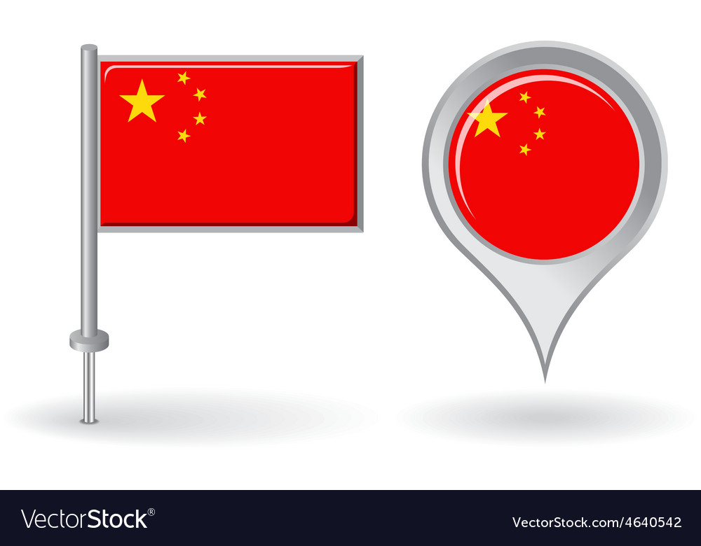 Chinese pin icon and map pointer flag vector | Price: 1 Credit (USD $1)