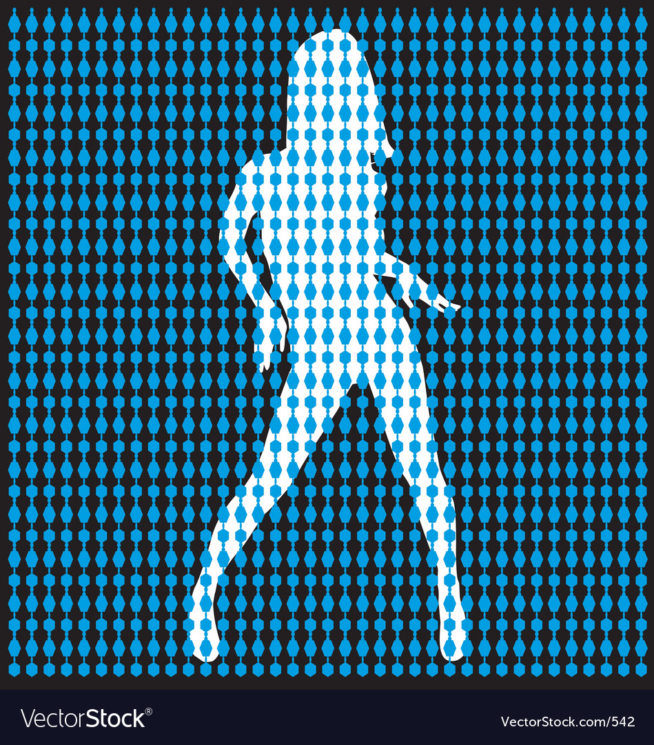 Dancer behind bead curtain vector | Price: 1 Credit (USD $1)
