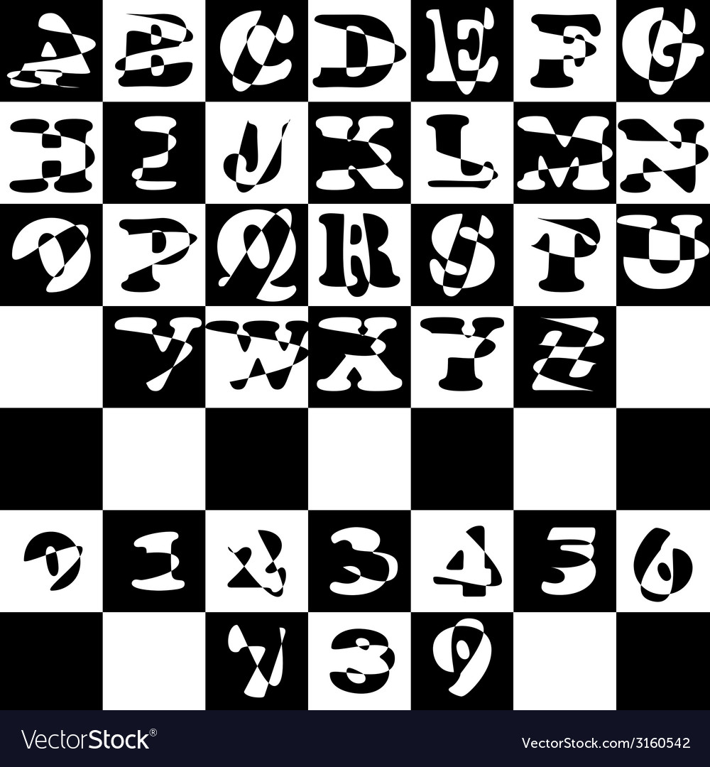 Font alphabet with figures black and white english vector | Price: 1 Credit (USD $1)