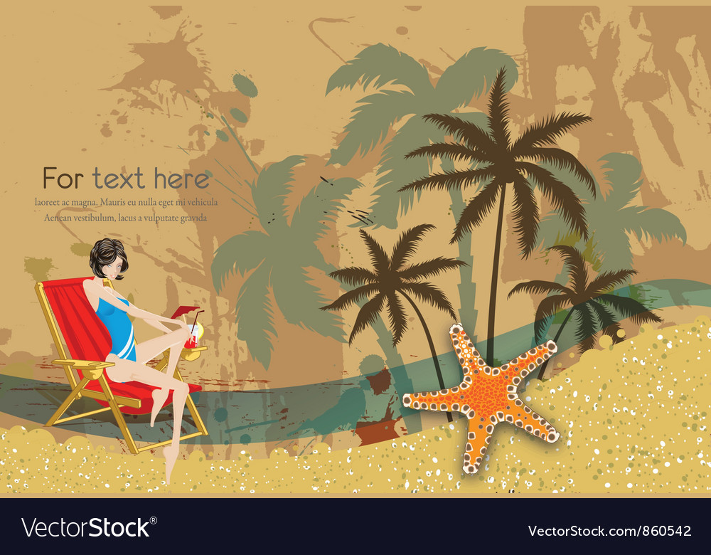 Glossy girl on vintage summer background vector   Price: 1 Credit (USD $1)