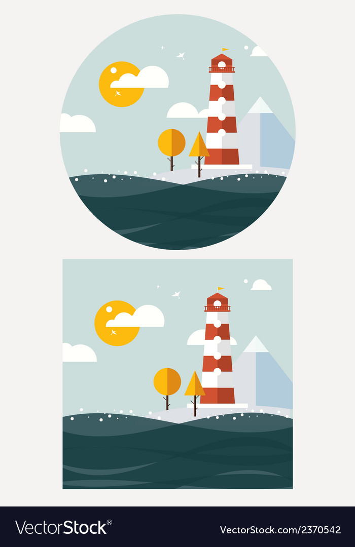 Hipster lighthouse flat style vector | Price: 1 Credit (USD $1)