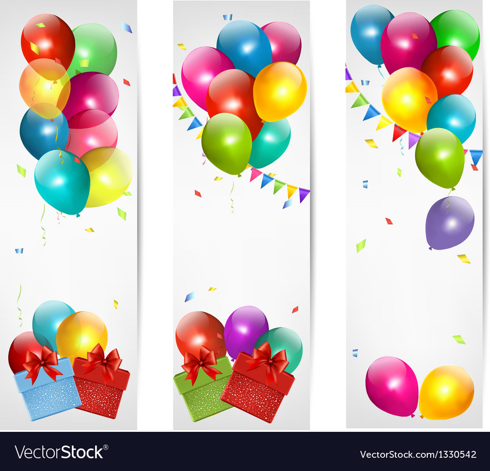 Holiday banners with colorful balloons and gift vector | Price: 3 Credit (USD $3)