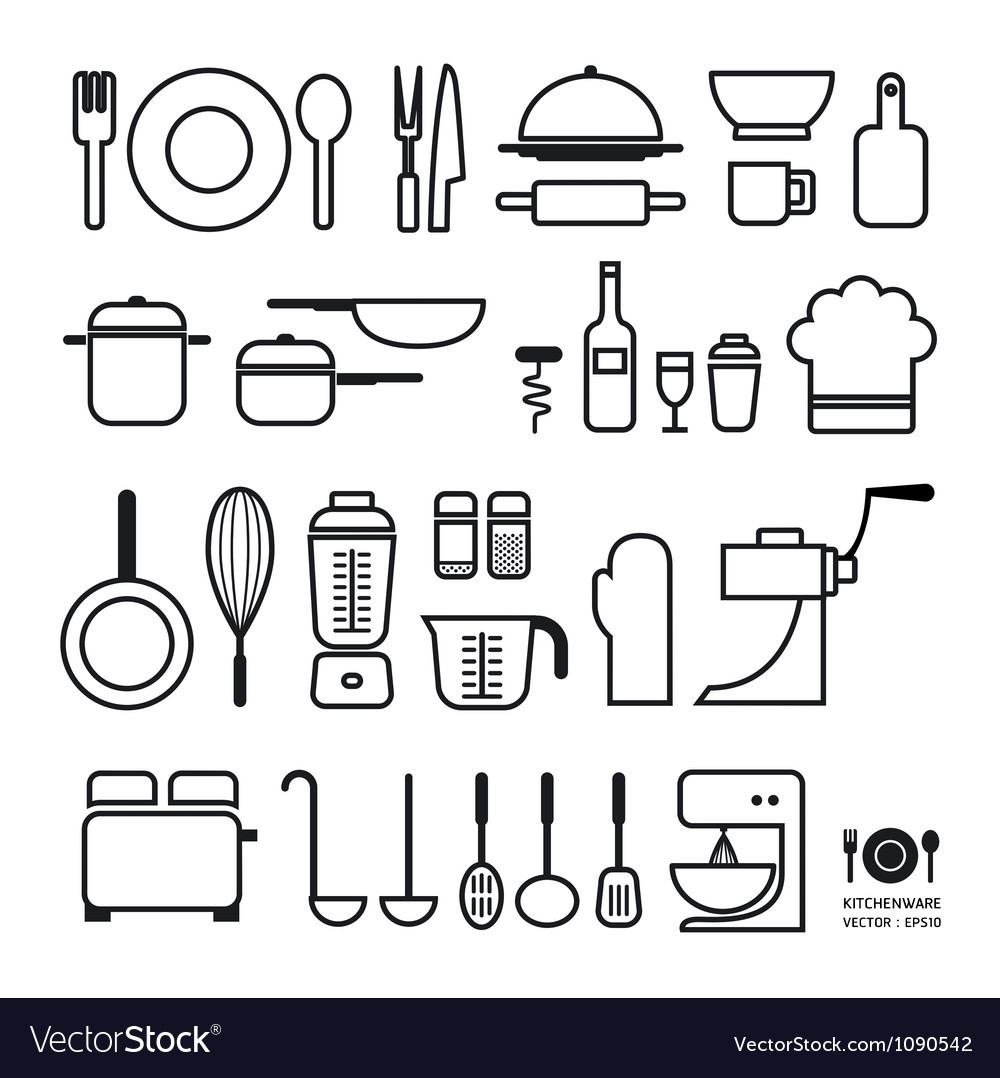 Kitchen tool icons collection vector | Price: 1 Credit (USD $1)