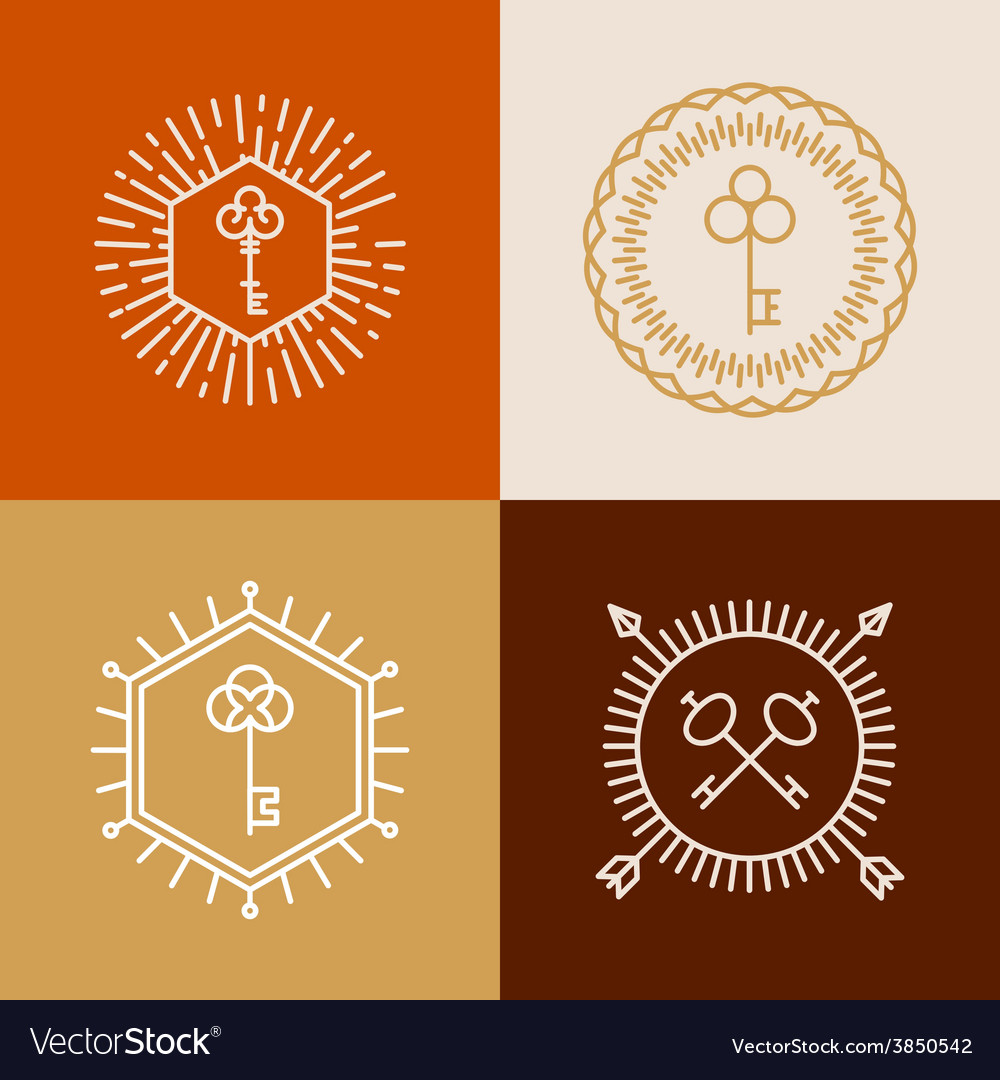 Linear badges in hipster style with keys vector | Price: 1 Credit (USD $1)