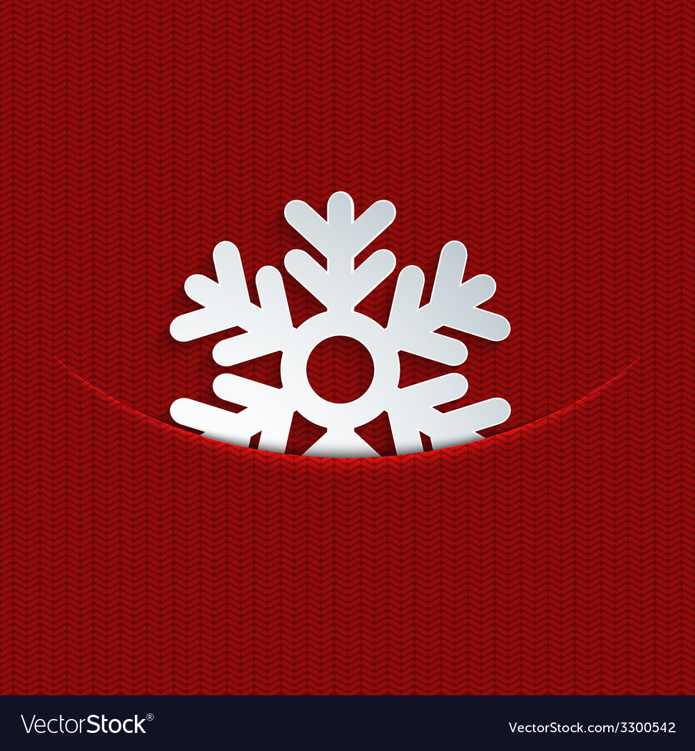 Modern snowflakes on red knitted vector | Price: 1 Credit (USD $1)