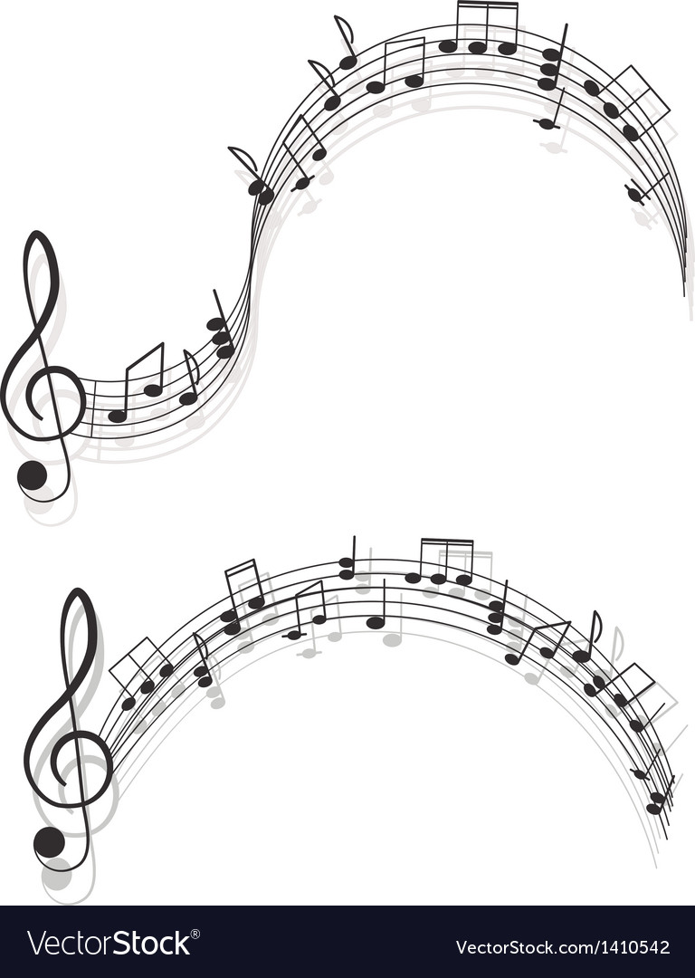 Music two treble clefs and notes for your design vector | Price: 1 Credit (USD $1)