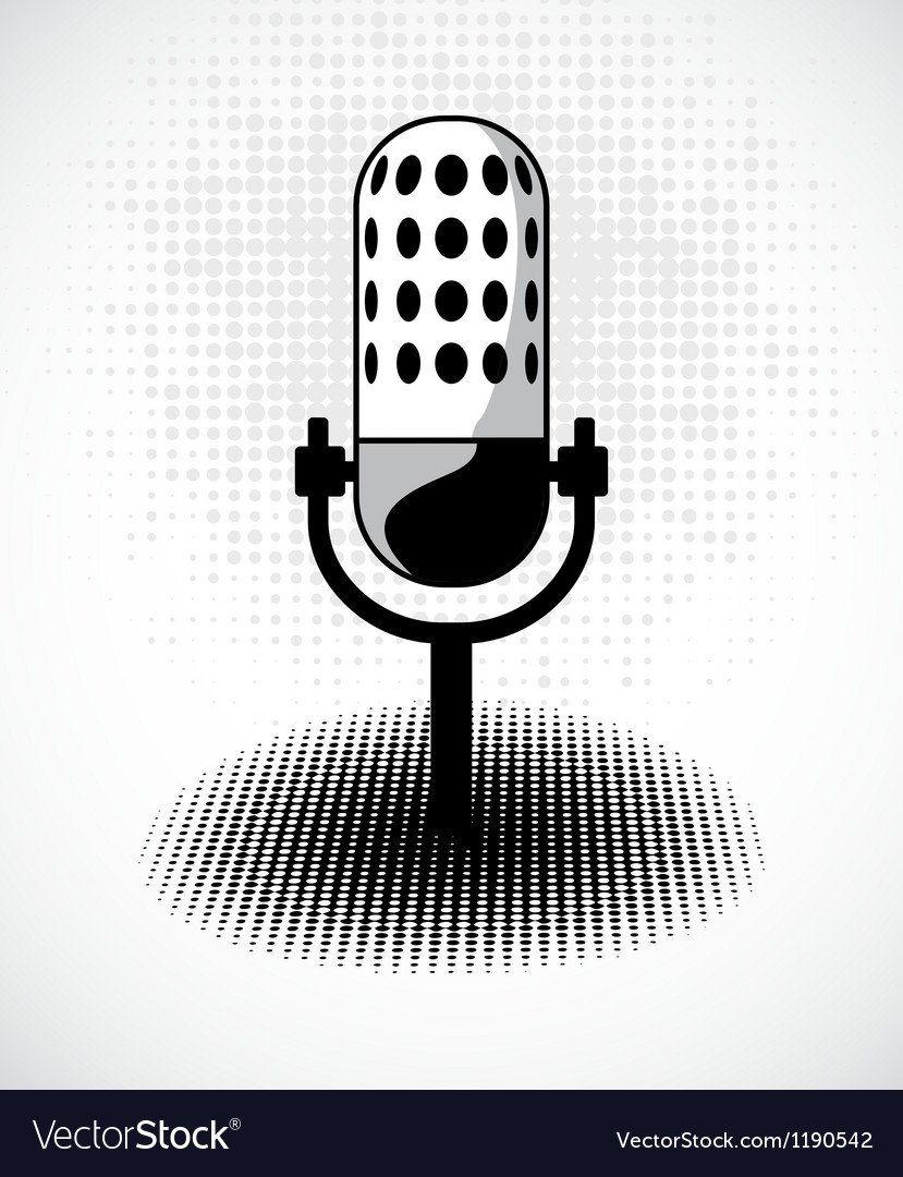 Retro microphone on dots card vector   Price: 1 Credit (USD $1)