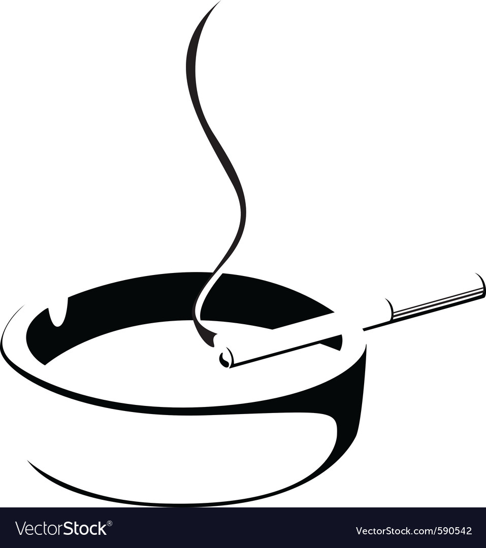Smoke cigarette and ashtray vector | Price: 1 Credit (USD $1)
