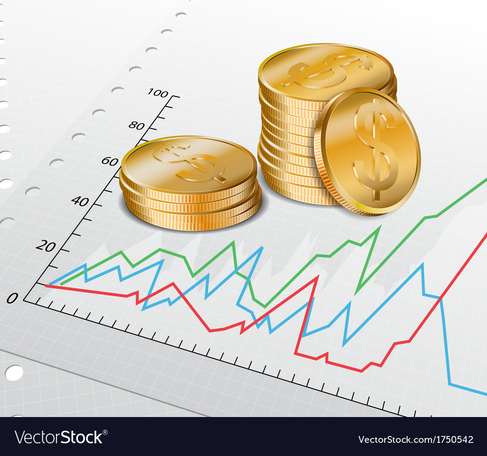 Trade diagram with golden coins vector | Price: 1 Credit (USD $1)