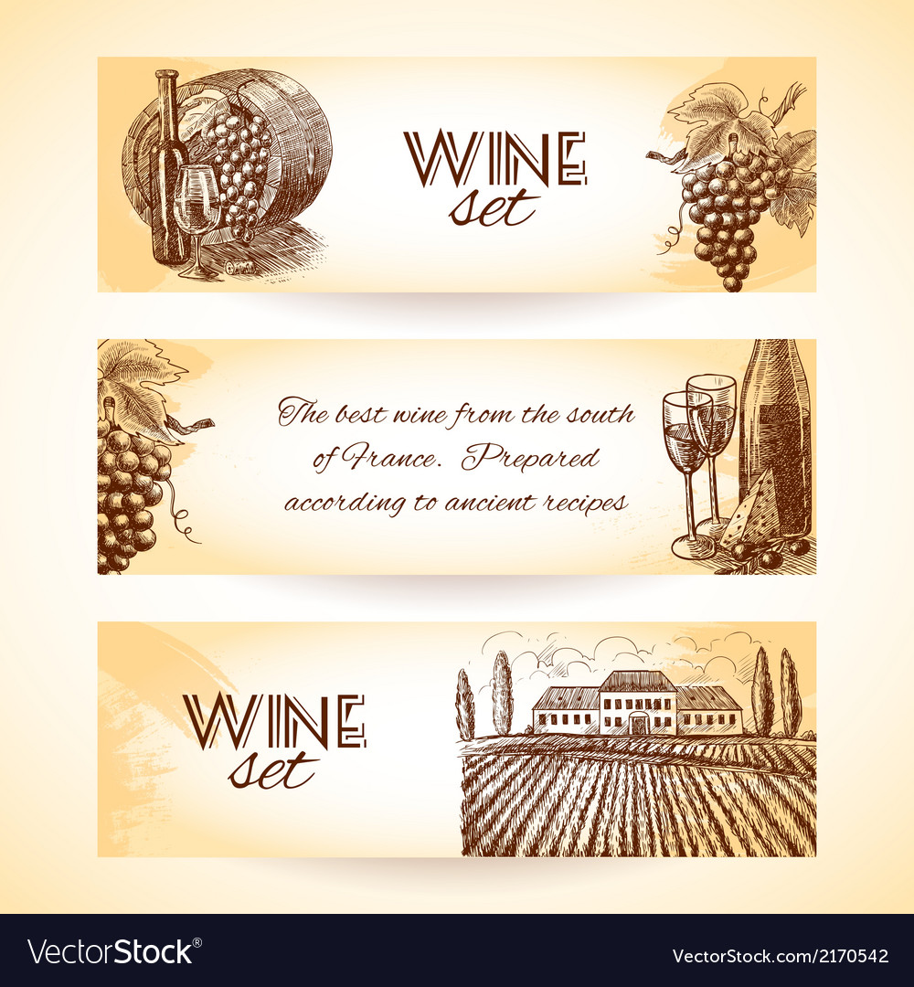 Wine banner set vector | Price: 1 Credit (USD $1)