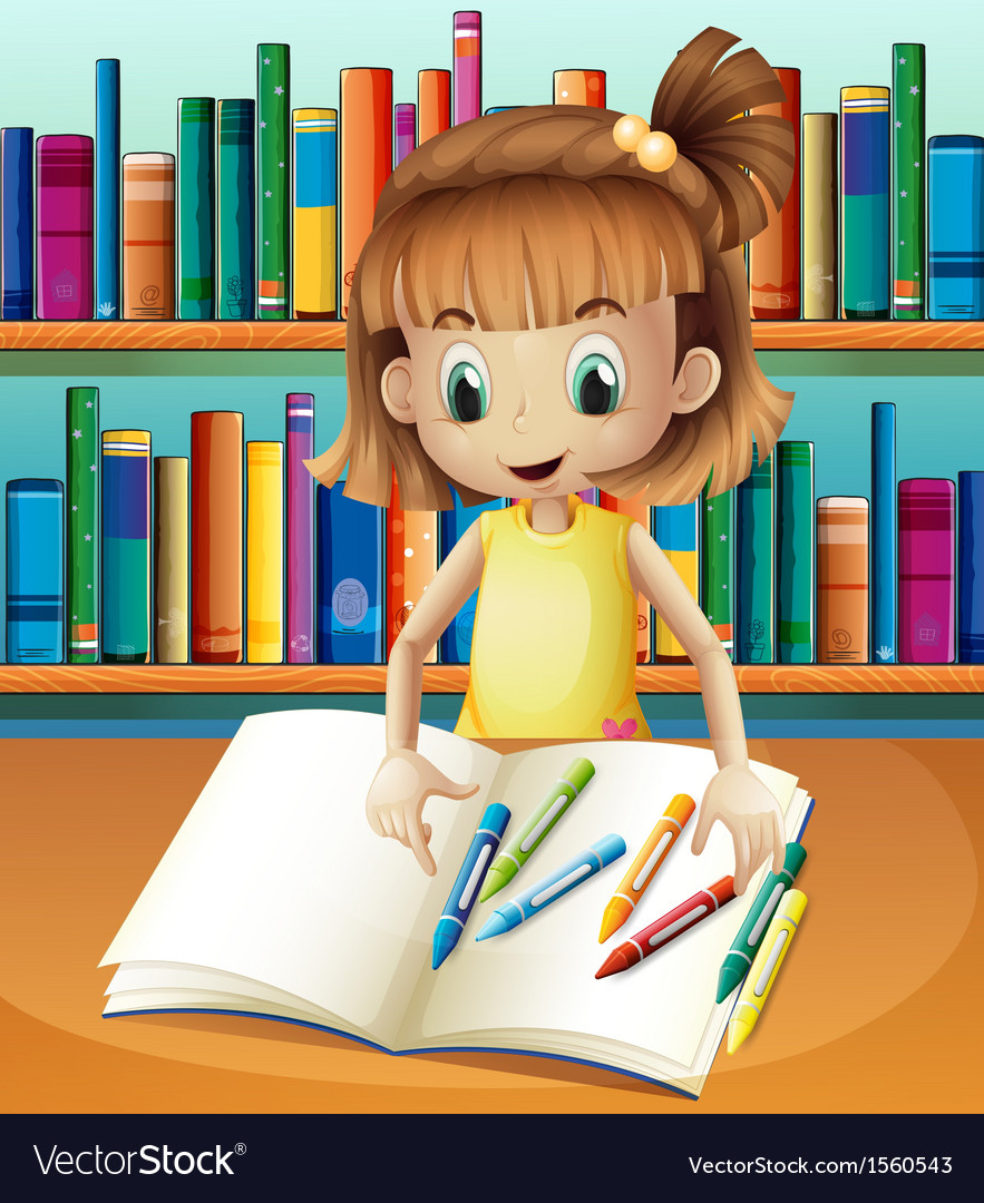 A girl with her empty notebook and crayons vector | Price: 3 Credit (USD $3)