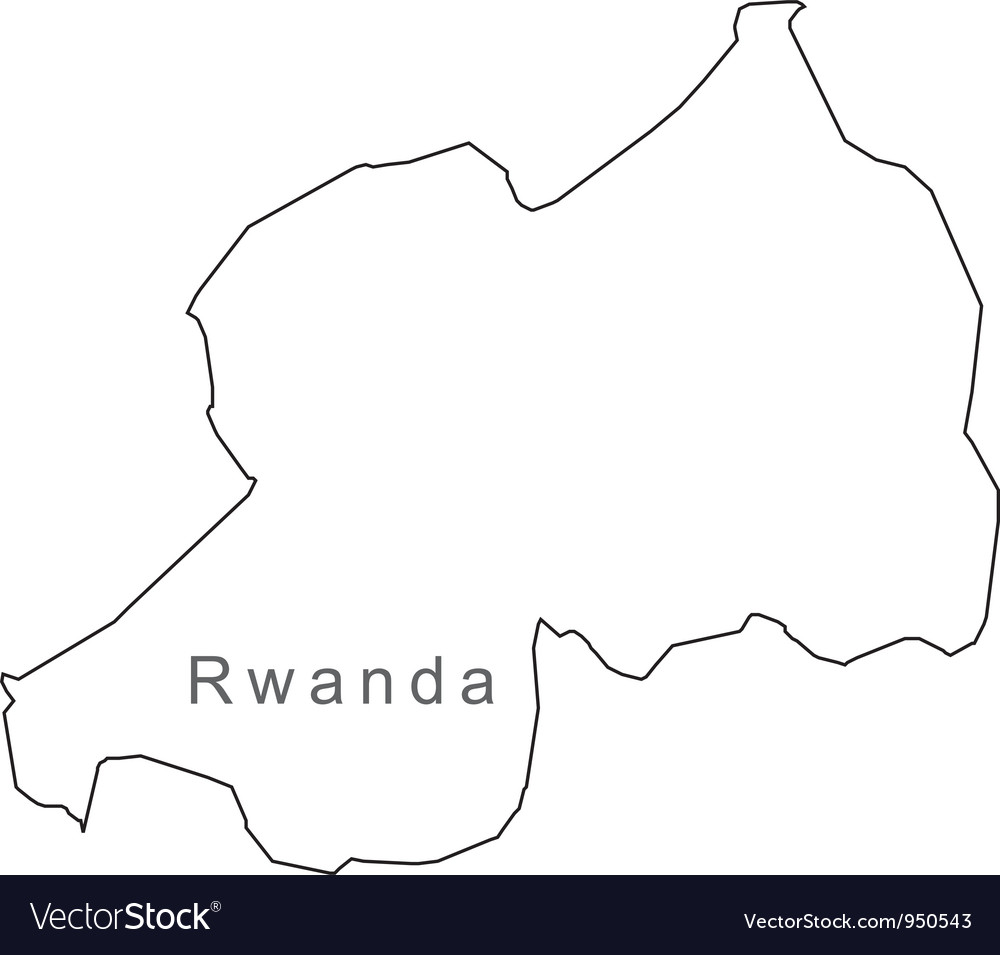 Black white rwanda outline map vector | Price: 1 Credit (USD $1)
