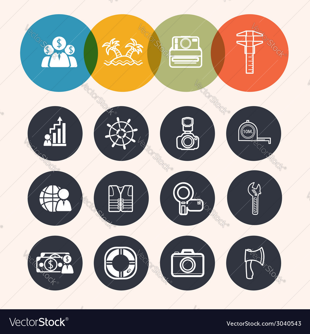 Collection circle series icons businesstourismcame vector | Price: 1 Credit (USD $1)