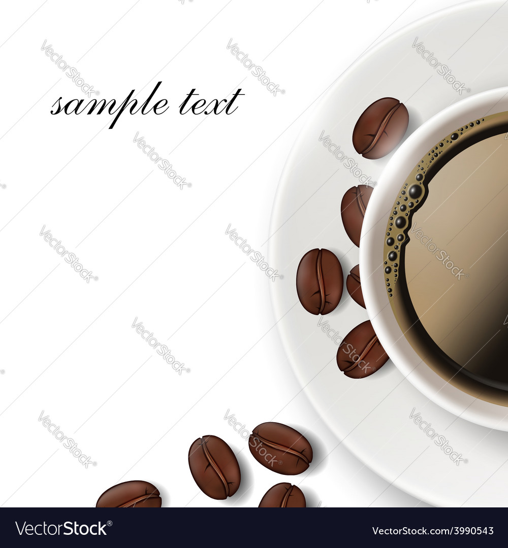 Cup of coffee and coffee beans on a white vector | Price: 1 Credit (USD $1)