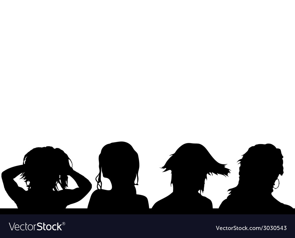 Girls hairstyles four silhouette vector | Price: 1 Credit (USD $1)