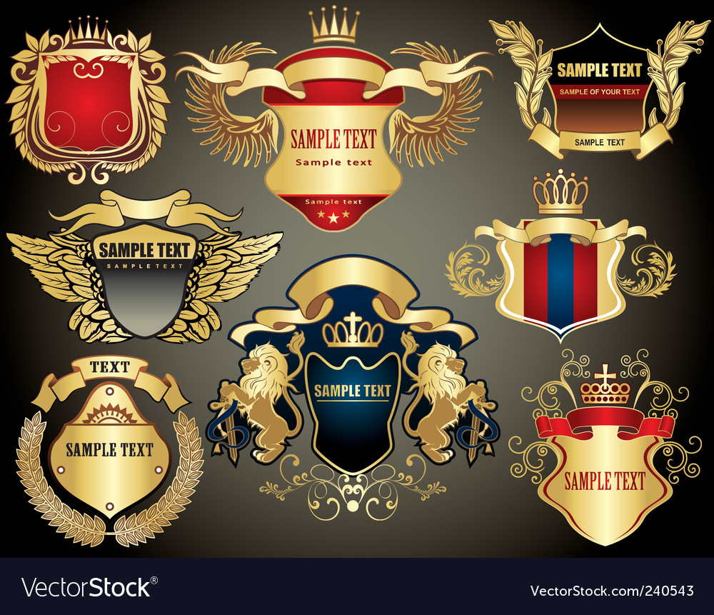 Gold heraldry elements vector | Price: 1 Credit (USD $1)