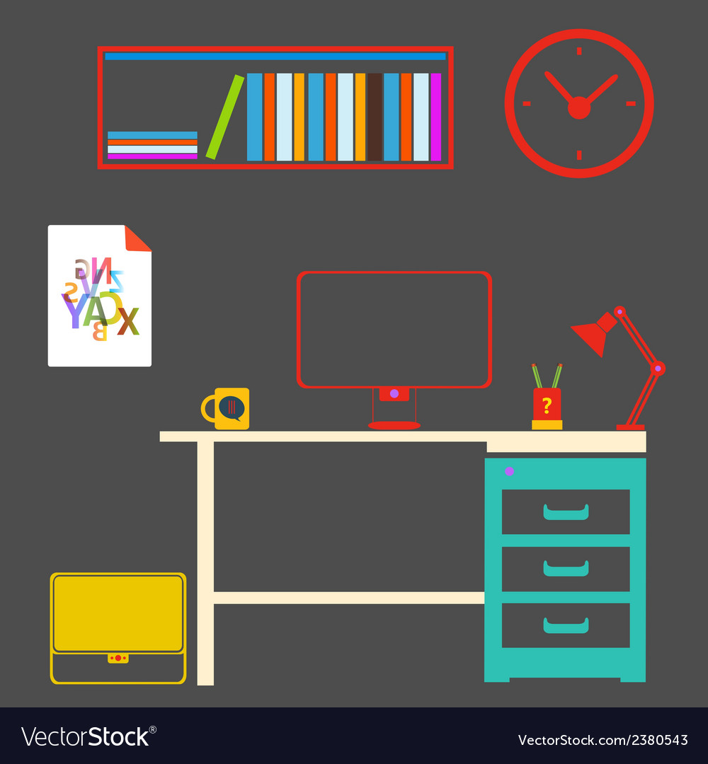 Modern interior room to work and study vector   Price: 1 Credit (USD $1)