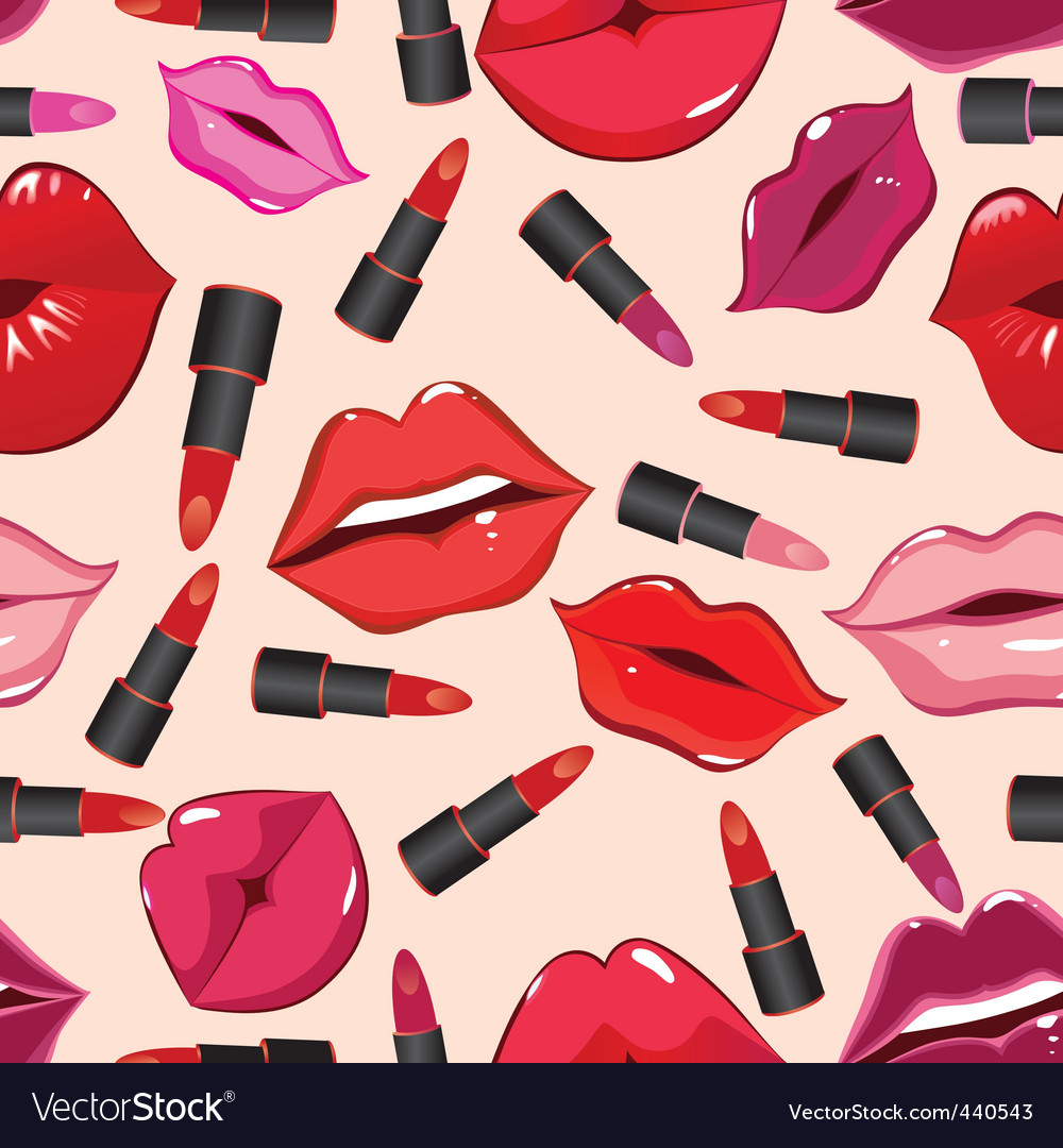 Seamless pattern print of lips vector | Price: 1 Credit (USD $1)