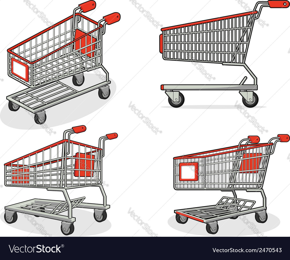 Shopping cart or trolley from several positions vector | Price: 1 Credit (USD $1)