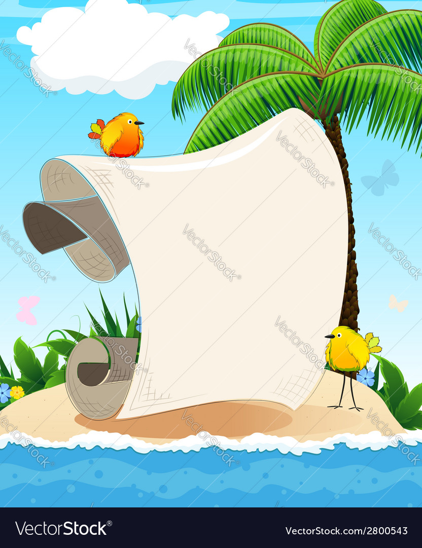 Small island with palm tree and birds vector | Price: 1 Credit (USD $1)
