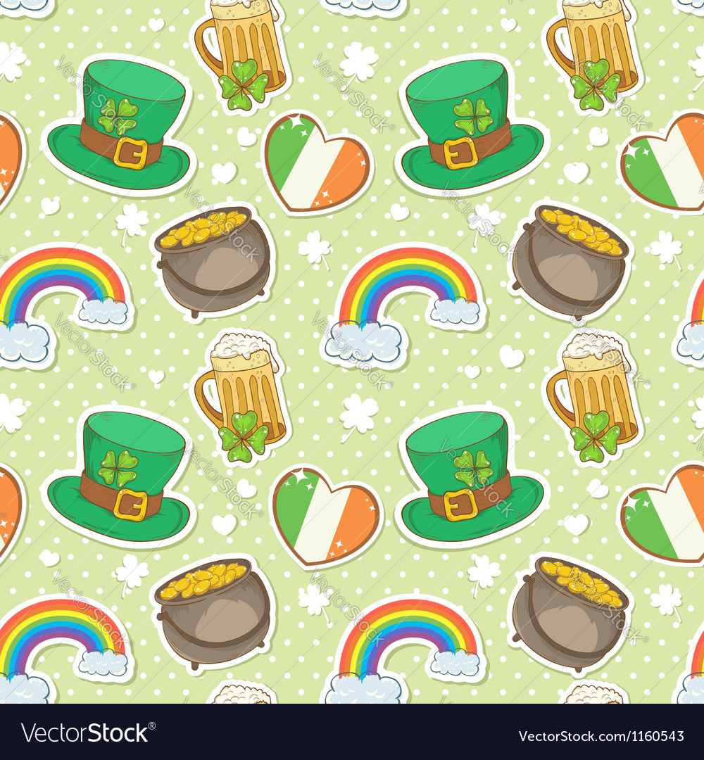 St patricks day stickers elements seamless pattern vector | Price: 1 Credit (USD $1)