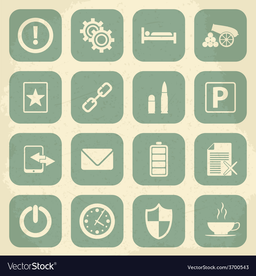 Universal retro icons for web and mobile vector | Price: 1 Credit (USD $1)