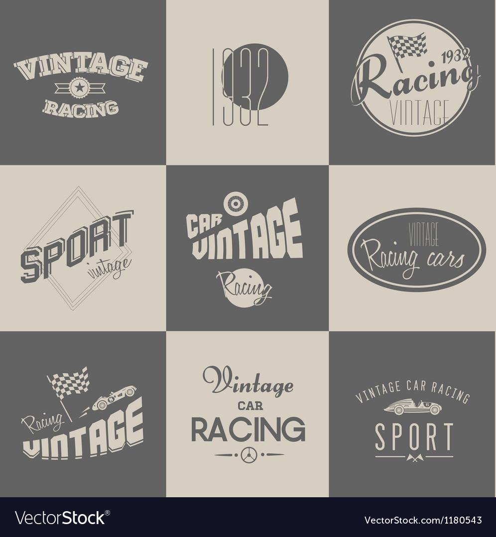 Vintage car racing badges vector | Price: 1 Credit (USD $1)