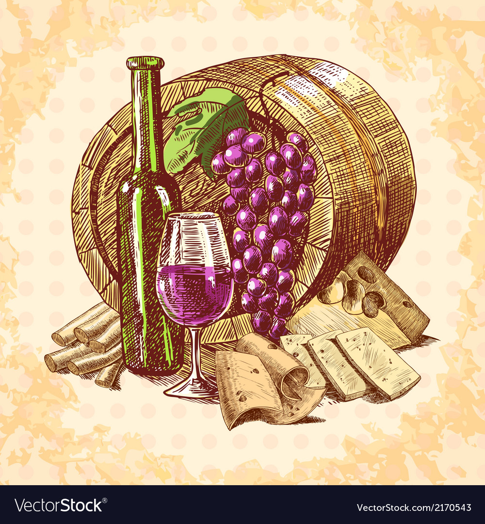 Wine cheese emblem vector | Price: 1 Credit (USD $1)