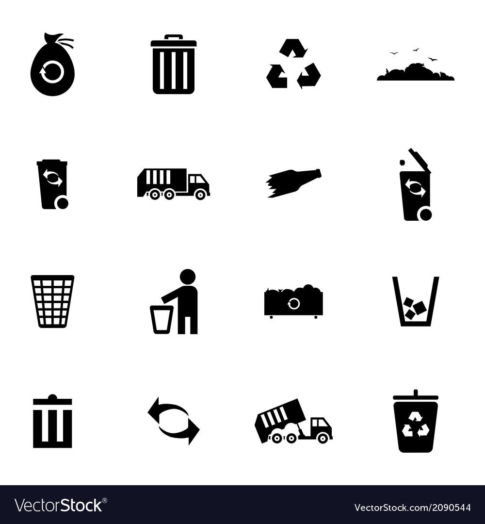 Black garbage icons set vector | Price: 1 Credit (USD $1)