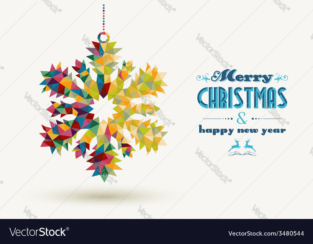 Christmas holidays triangle snowflake card vector | Price: 1 Credit (USD $1)