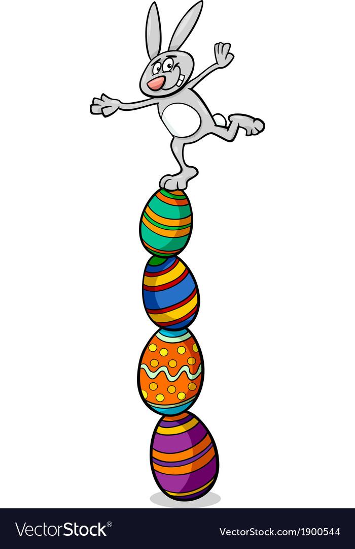 Cute easter bunny cartoon vector | Price: 1 Credit (USD $1)