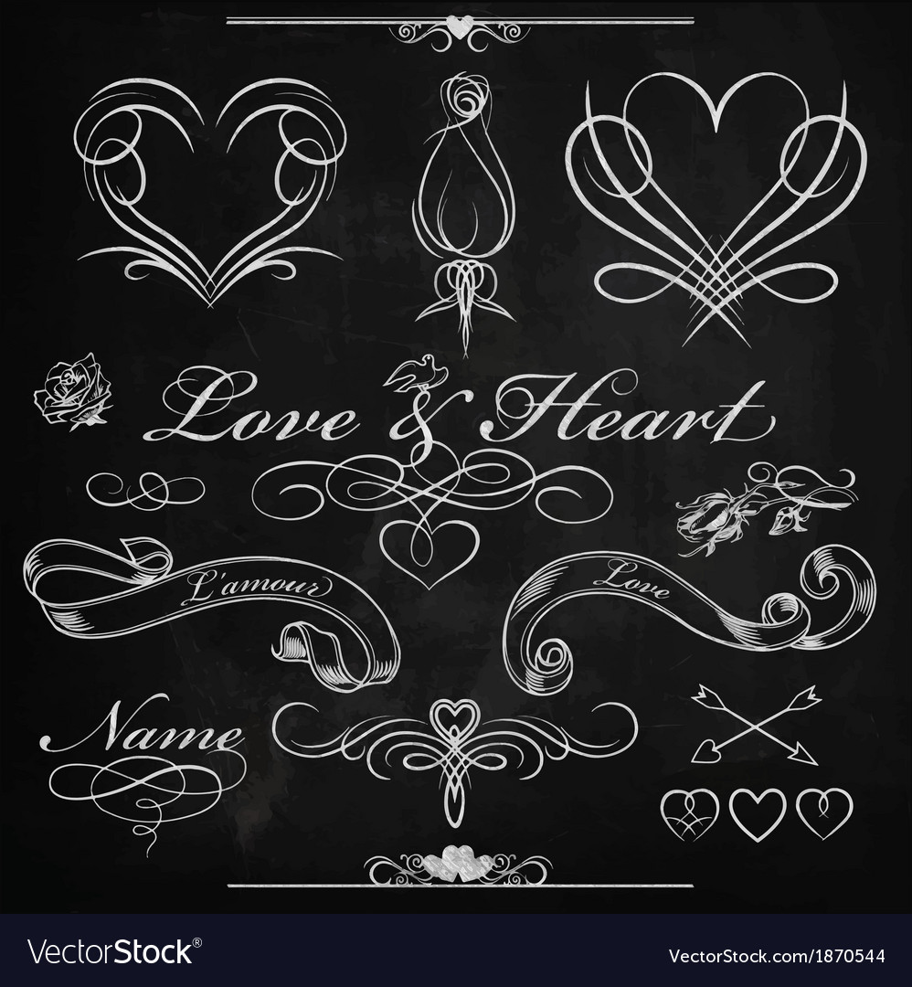 Love and heart chalk design vector | Price: 1 Credit (USD $1)
