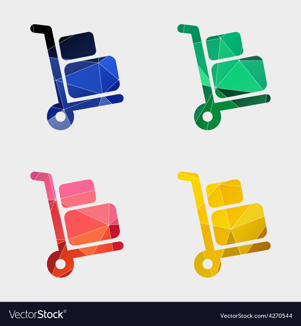 Luggage trolley icon abstract triangle vector | Price: 1 Credit (USD $1)