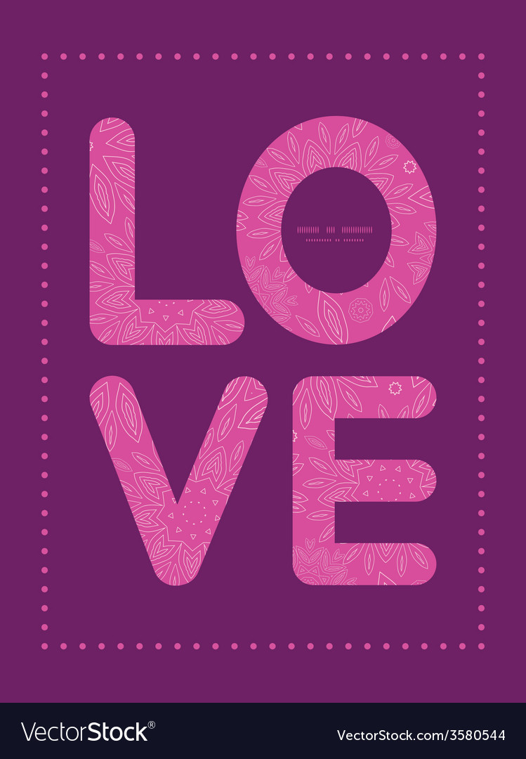 Pink abstract flowers texture love text frame vector | Price: 1 Credit (USD $1)