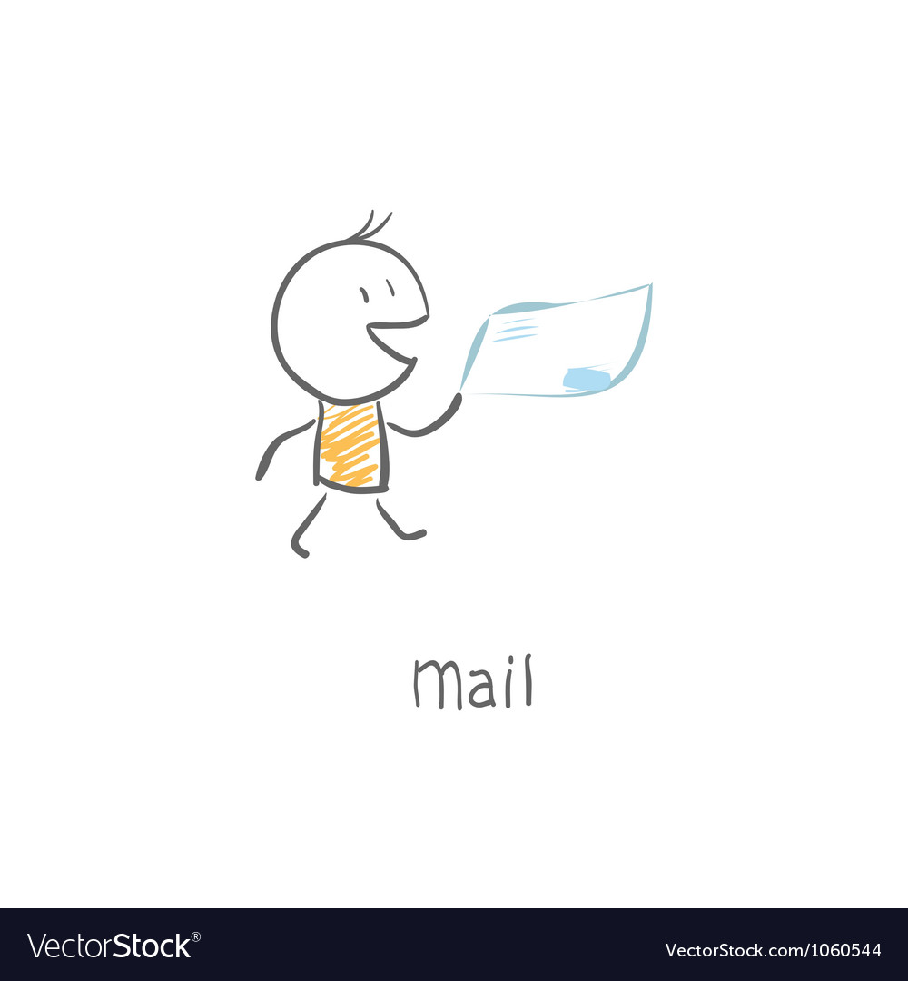 Postman delivering mail vector | Price: 1 Credit (USD $1)