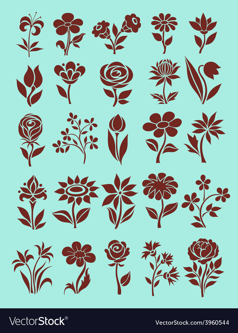 Set of flower icons vector   Price: 1 Credit (USD $1)