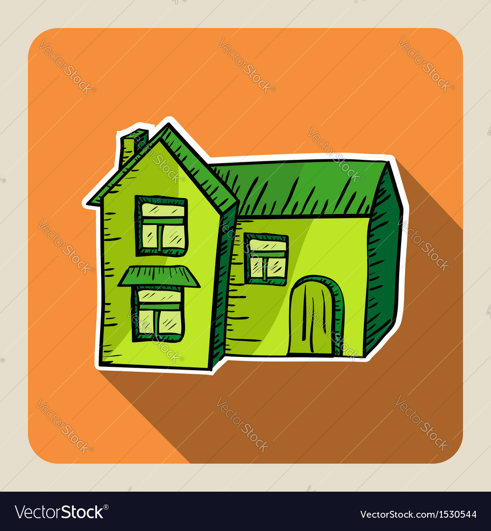 Sketch style green house vector | Price: 1 Credit (USD $1)