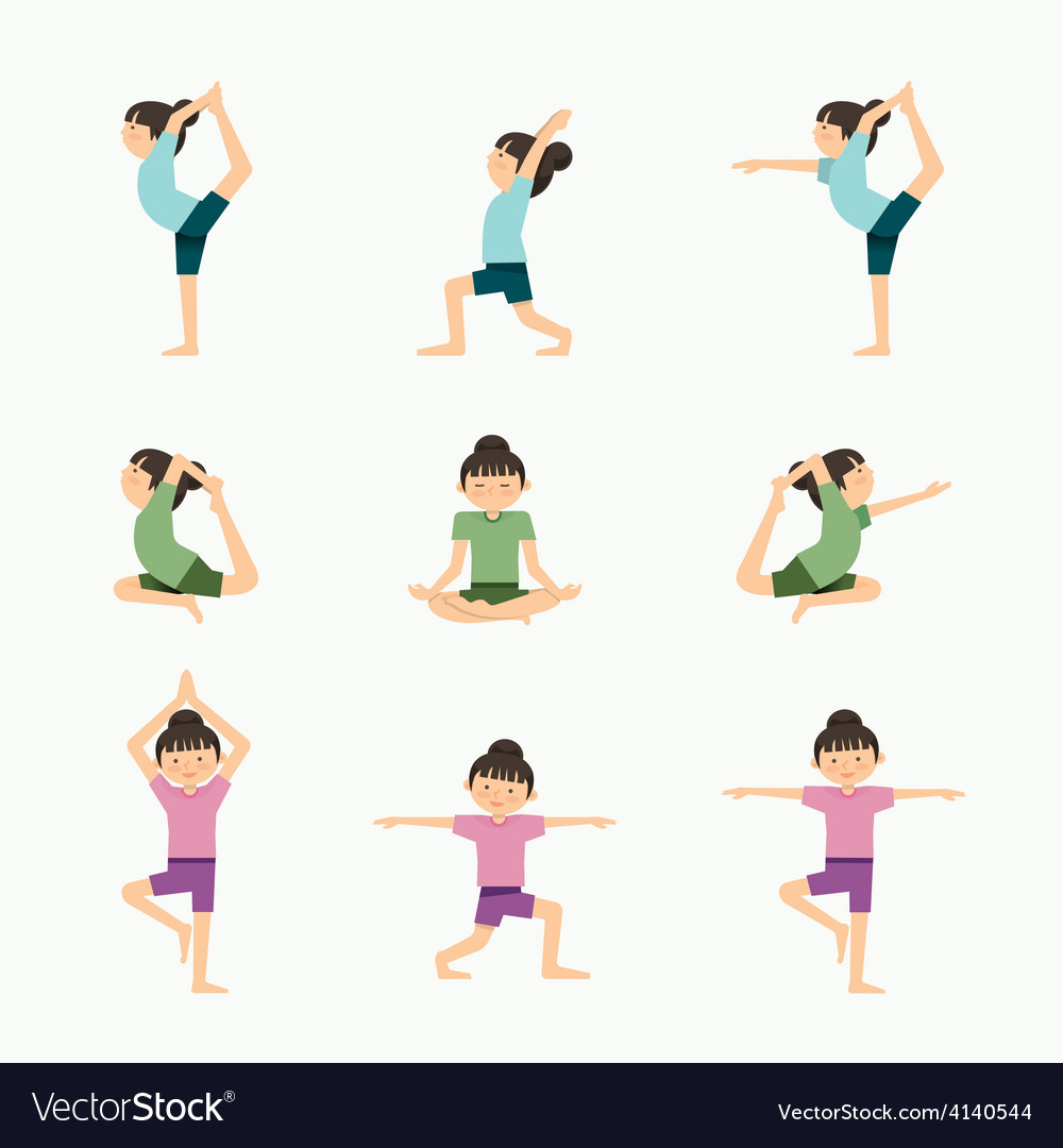 Yoga set girl yoga exercises in lesson class heal vector | Price: 1 Credit (USD $1)