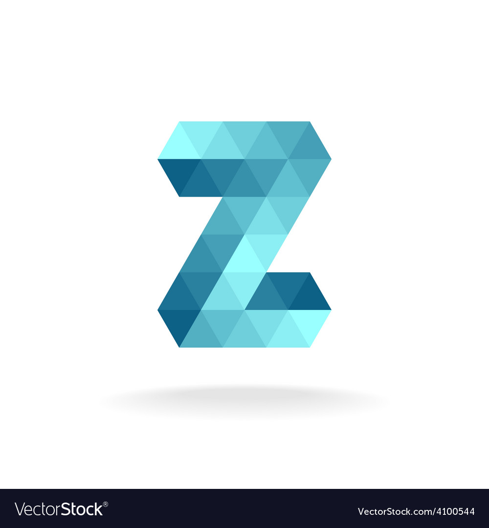 Z letter logo template technical triangles style vector