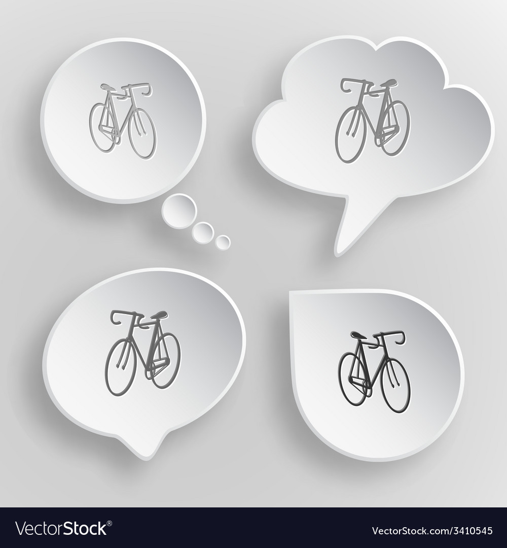 Bicycle white flat buttons on gray background vector   Price: 1 Credit (USD $1)