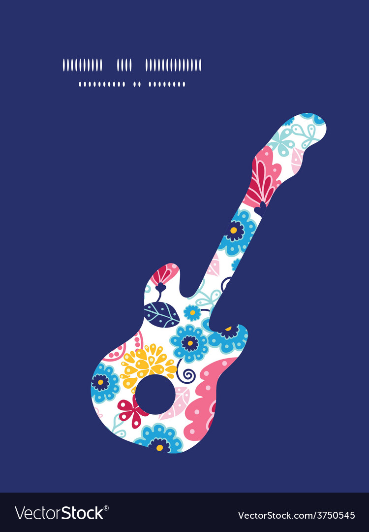 Fairytale flowers guitar music silhouette vector | Price: 1 Credit (USD $1)