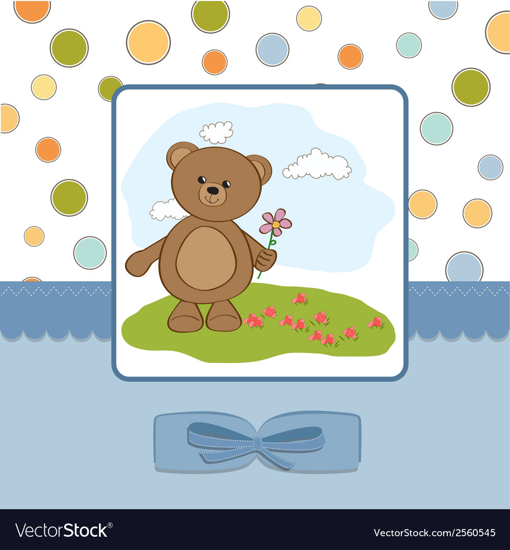 Happy birthday card with teddy bear and flower vector | Price: 1 Credit (USD $1)