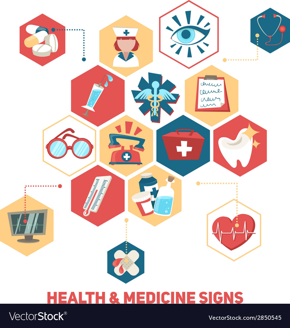 Health and medical signs concept vector | Price: 1 Credit (USD $1)