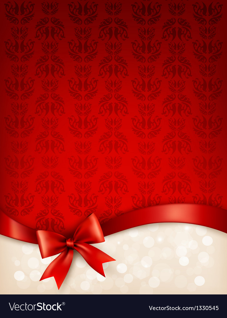 Holiday background with gift glossy bow and ribbon vector   Price: 1 Credit (USD $1)