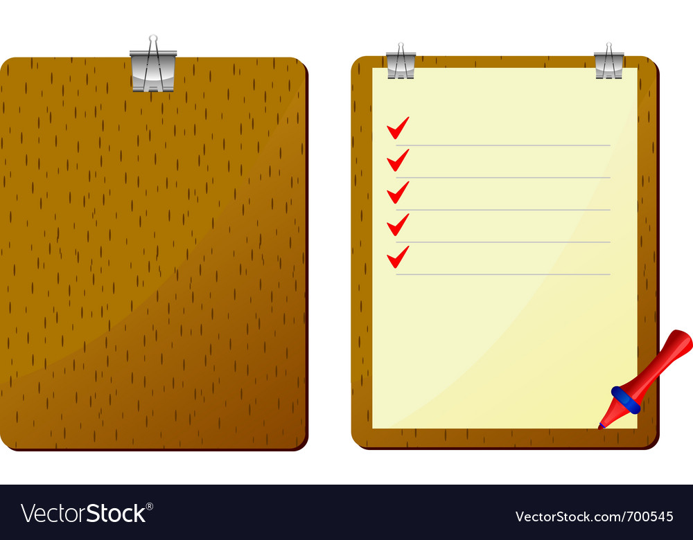 Red pencil to clipboard vector | Price: 1 Credit (USD $1)