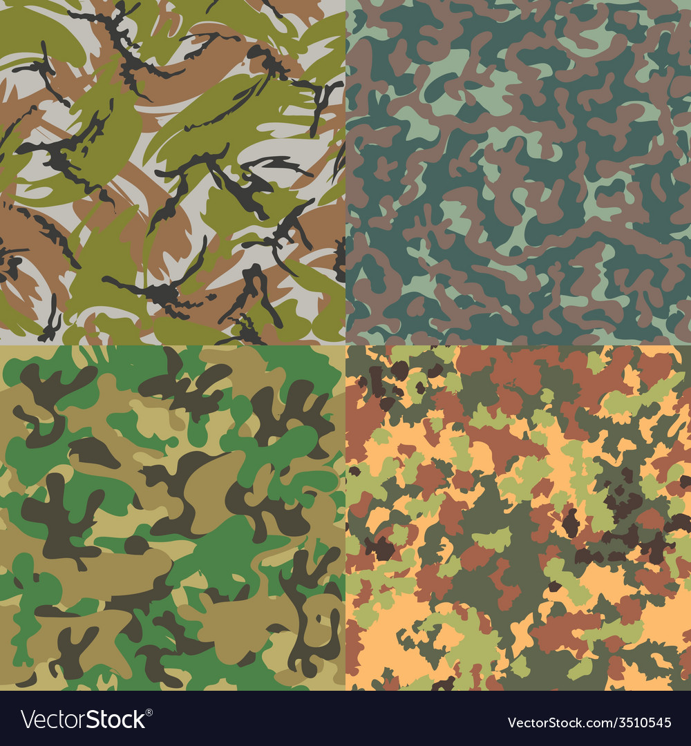 Set of seamless camouflage patterns four kinds vector | Price: 1 Credit (USD $1)