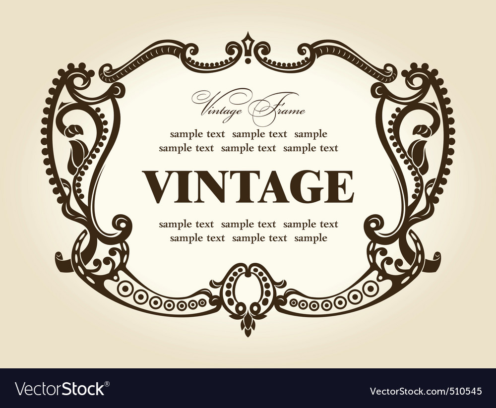 Vintage rococo retro frame ornament vector | Price: 1 Credit (USD $1)