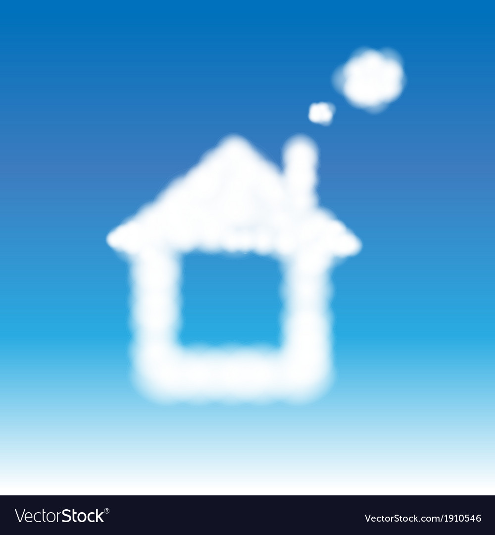 Abstract house from clouds in blue sky vector | Price: 1 Credit (USD $1)