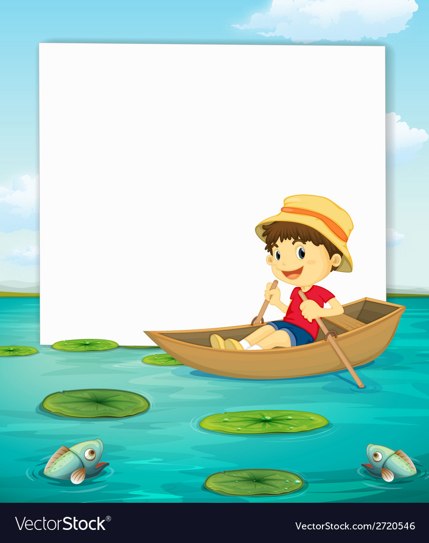 Boy on boat banner vector | Price: 1 Credit (USD $1)